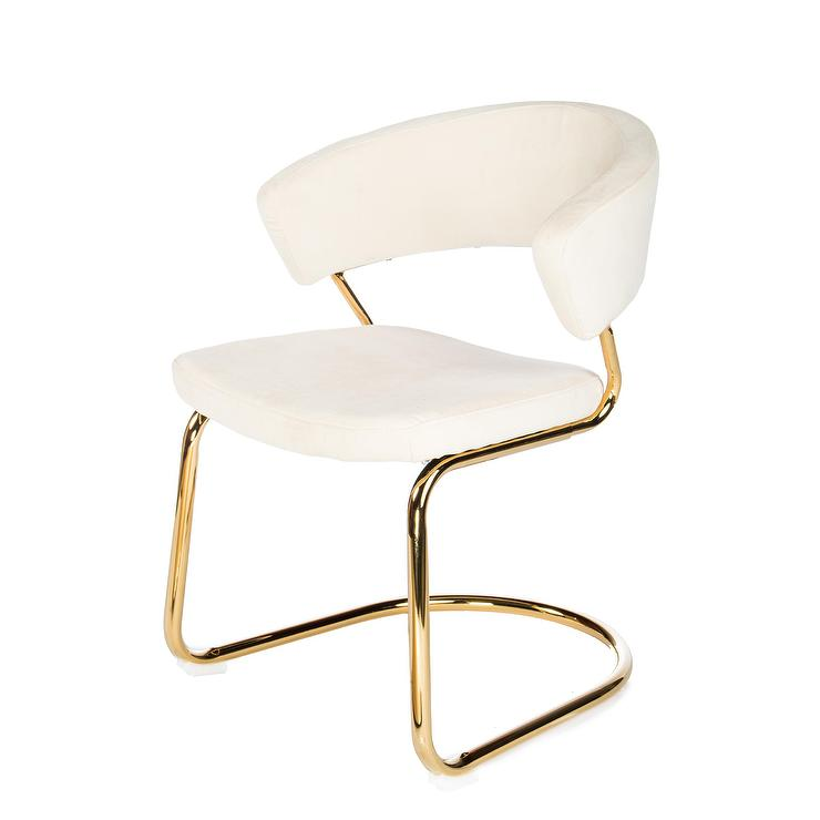Brandie Cream Velvet Dining Chair Set