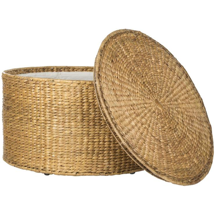 Round Wicker Coffee Table With Storage: Vilamoura Round Woven Wicker Outdoor Coffee Table