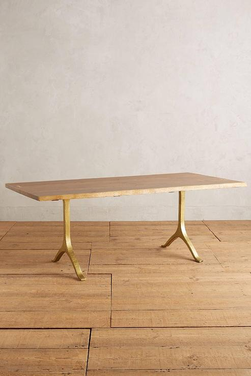 Fat Brass U Leg Hickory Dining Table I Roomservicestore