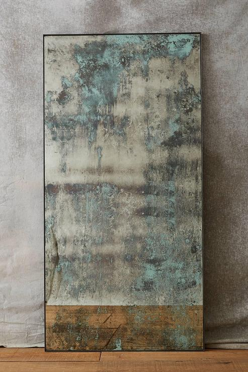 Textured Teal Washed Mirror