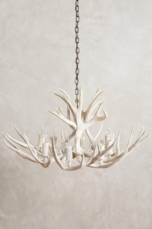 White Shed Antler Chandelier