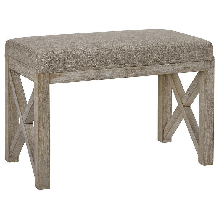 Taupe Farmhouse Fabric Wood Bench