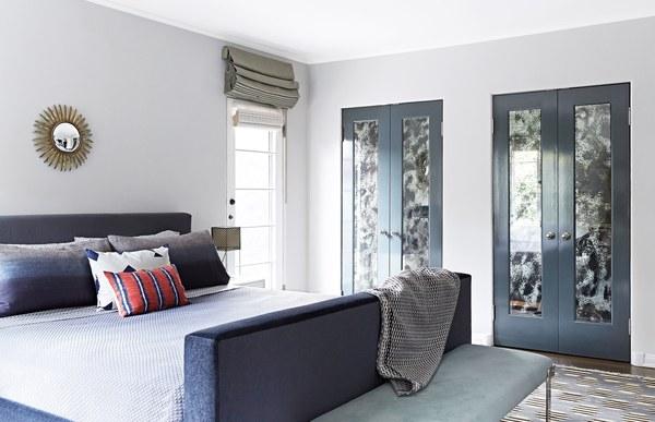 Gray Bi Fold Closet Doors With Antiqued Mirror Panels