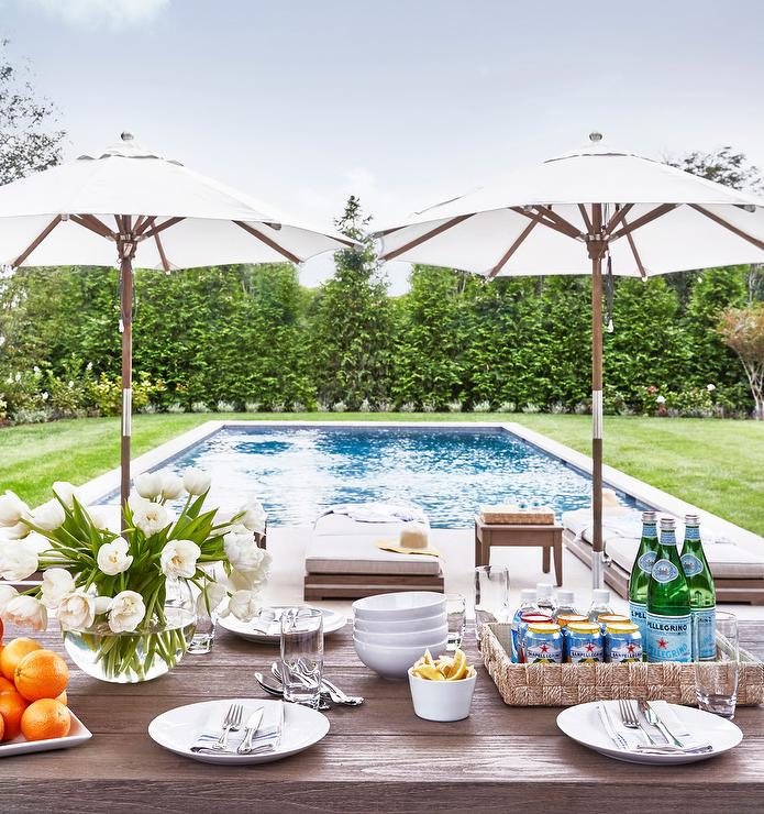 Dining Table in Front of Pool