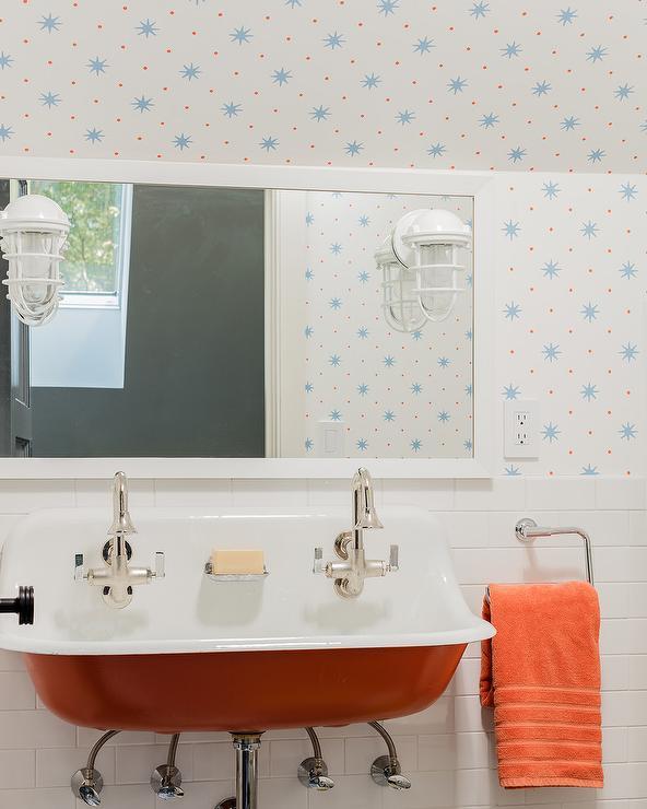 White And Black Kids Bathroom With Madison Humphrey Dog