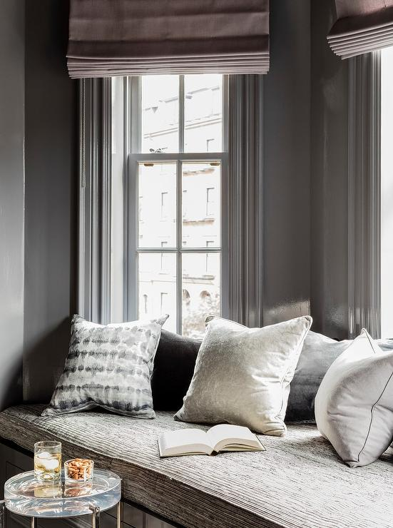 Gray Bay Window Reading Nook Bench