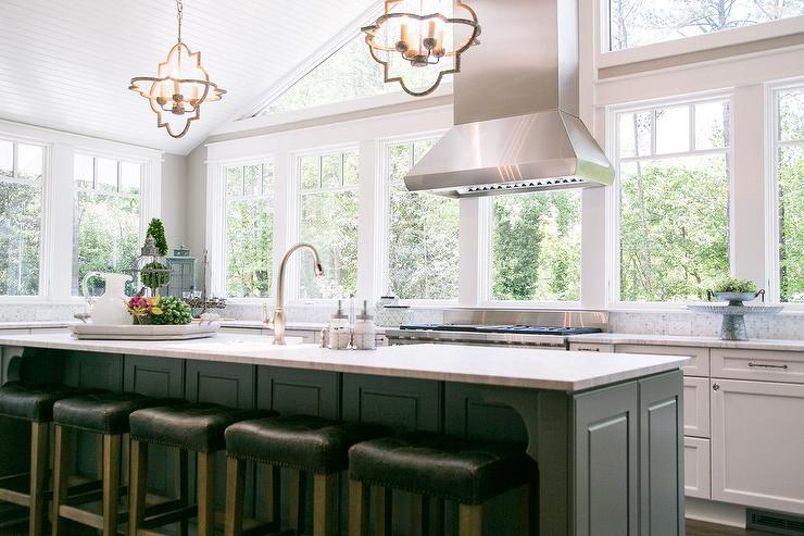 Vaulted Kitchen Ceiling Beadboard Trim Transitional