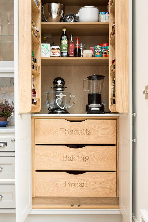 Captivating Pantry Cabinets With Labeled Drawers