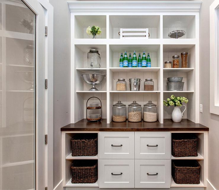 White Kitchen Pantry woven kitchen pantry baskets design ideas