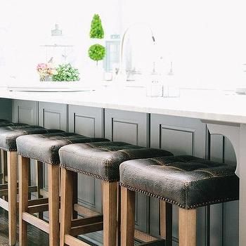 Gray Wainscoted Center Island with Black Tufted Stools & Black Leather Counter Stools Design Ideas islam-shia.org