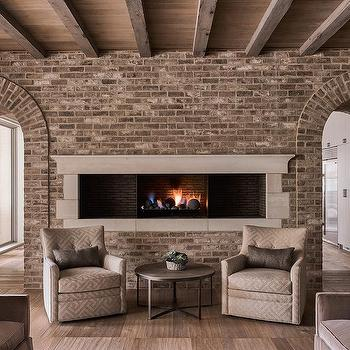 Gray Brick Living Room Wall Design Ideas