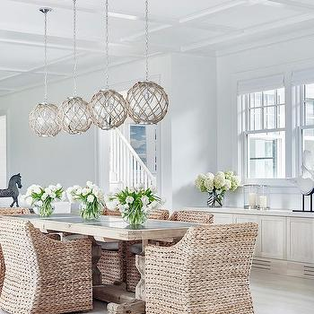 Attractive Trestle Dining Table With Jute Rope Globe Light Pendants