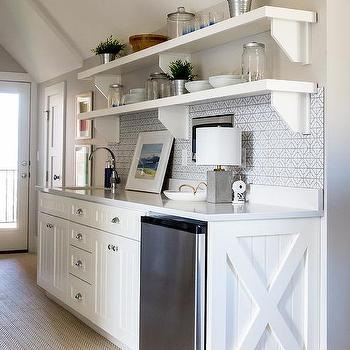 butler pantry with white beadboard cabinets