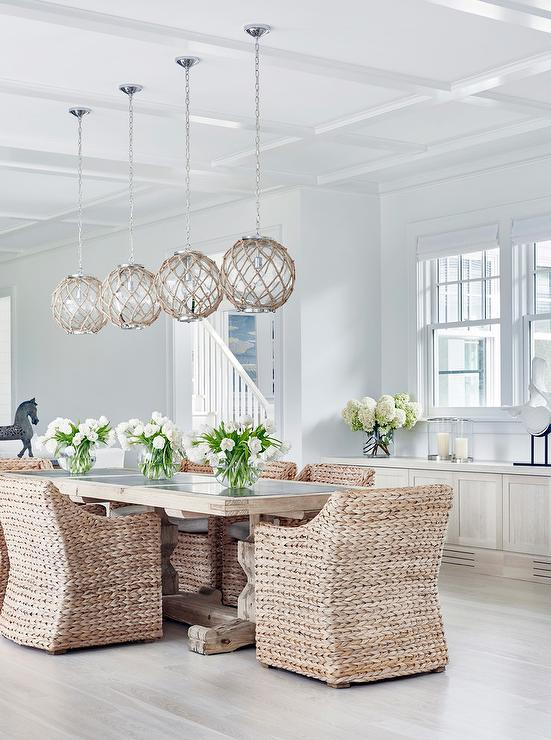 Lovely Chic Cottage Dining Room Features Four Jute Rope Globe Pendants Satin  Nickel Illuminating A Light Wood Trestle Dining Table Lined With Seagrass  Dining ...