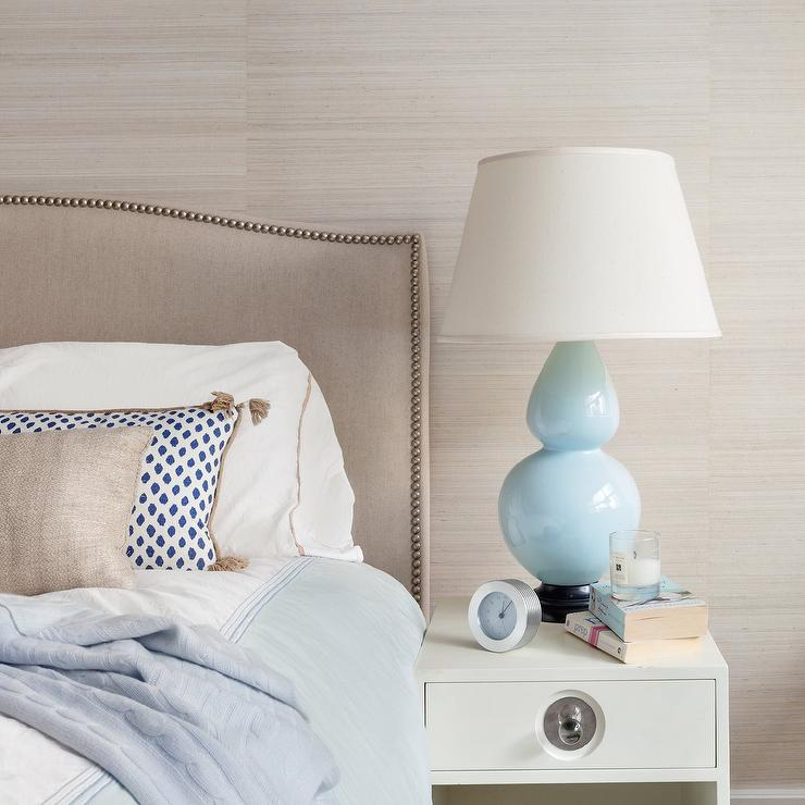 High Quality Taupe Headboard With Baby Blue Double Gourd Lamp