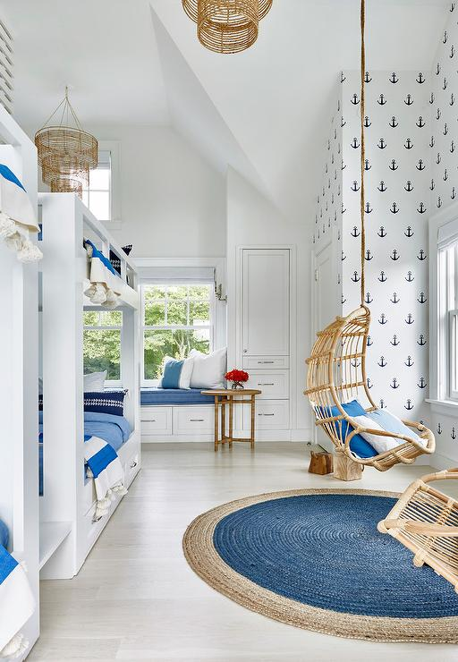 Kids bedroom with best in show wallpaper and navy bunk for Blue and white boys room