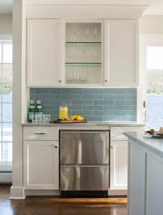 Linear Glossy Blue Kitchen Tiles Transitional Kitchen