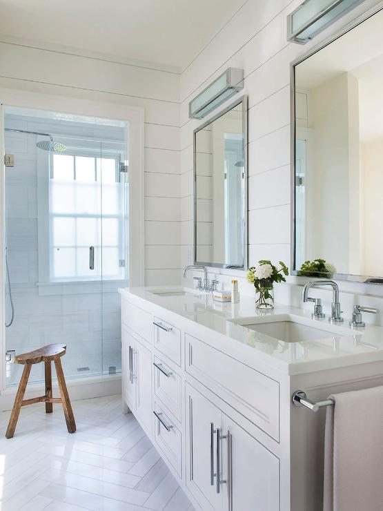 White Shiplap Bathroom With White Herringbone Floor Tiles