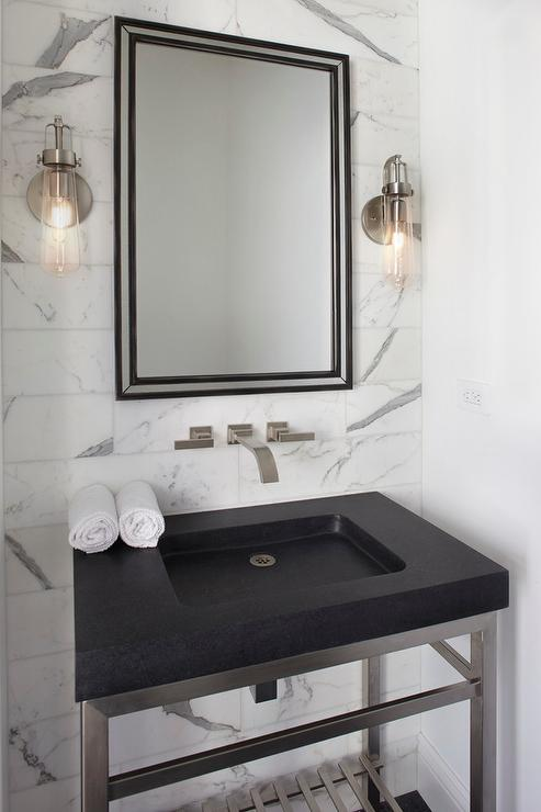 Steel and Black Granite Washstand with Wall Mount Sink - Modern ...