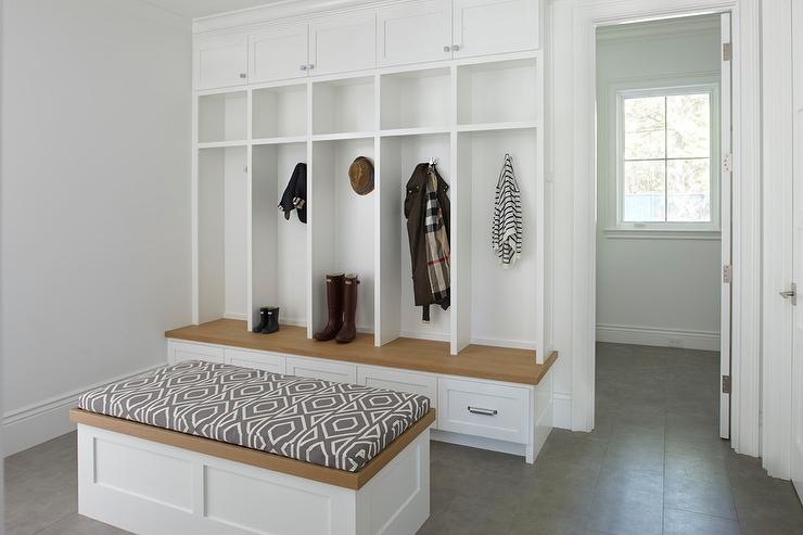 Mudroom Storage Drawers : Pale gray mudroom lockers with white bench transitional