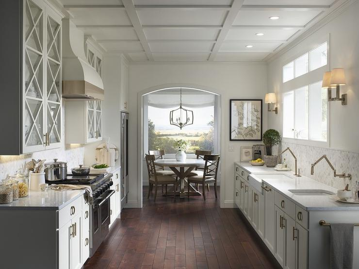 Extra Light Gray Kitchen Cabinets With Brass Ring Hardware Transitional Kitchen
