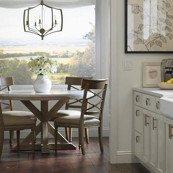 Round Wood And Marble Dining Table With Wooden Dining Chairs