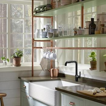 Light Blue Farmhouse Kitchen Cabinets With Copper Piping Shelves
