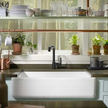 Kitchen Copper Piping Shelves Design Ideas