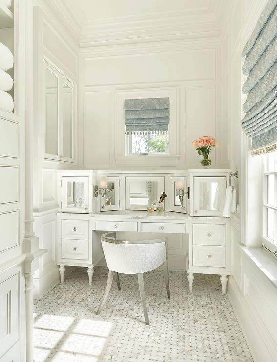 White French Makeup Vanity With Mirrored Cabinet Doors