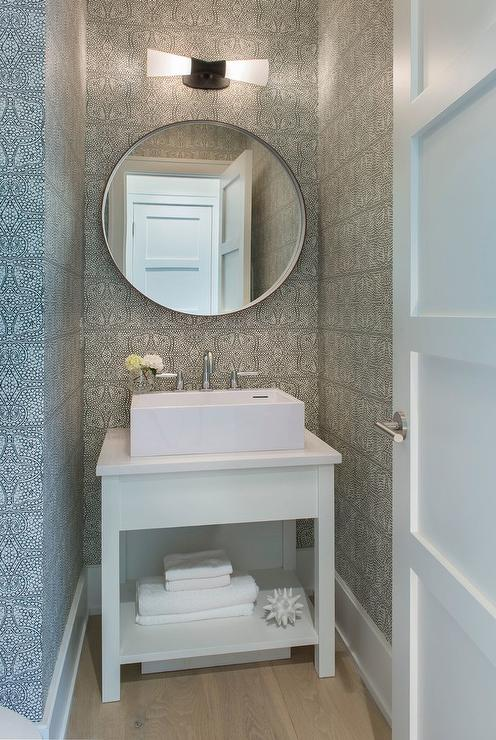 Stunning Small White And Gray Powder Room Is Equipped With A White Bath  Vanity Fitted With A Shelf And A Rectangular Vessel Sink Paired With A  Polished ...