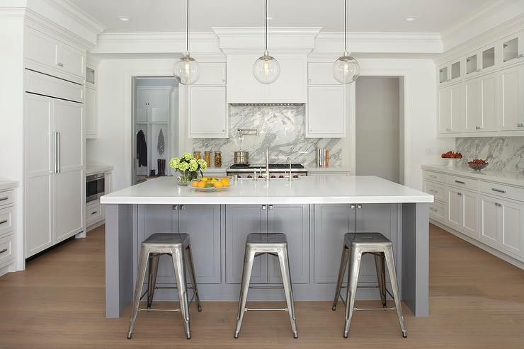Grey And White Kitchen With Island steel gray kitchen island with tolix stools - transitional - kitchen