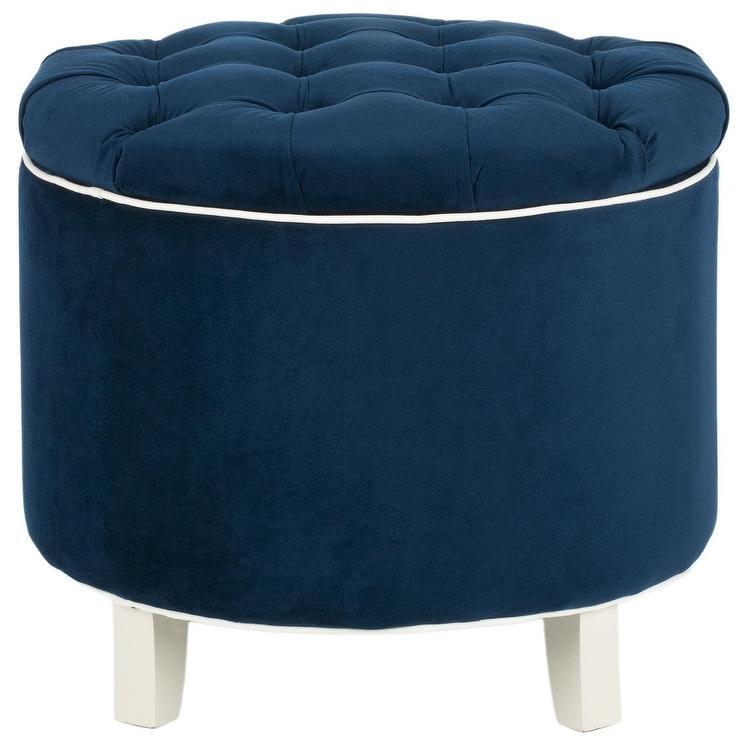 Peachy Amelia Navy Tufted Storage Ottoman Bralicious Painted Fabric Chair Ideas Braliciousco
