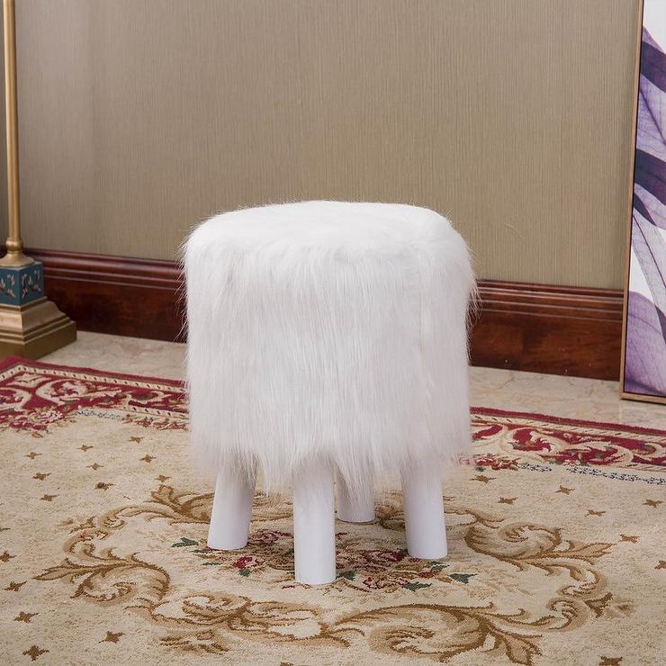 elihu modern white faux fur ottoman