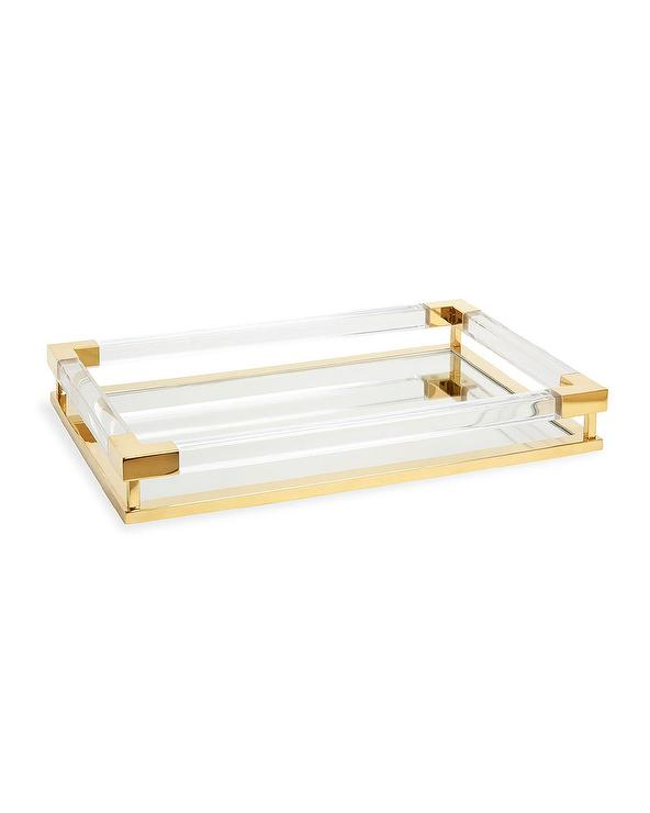 Gold Mirrored Glass Modern Serving Tray For Table Or Ottoman Serving Tray
