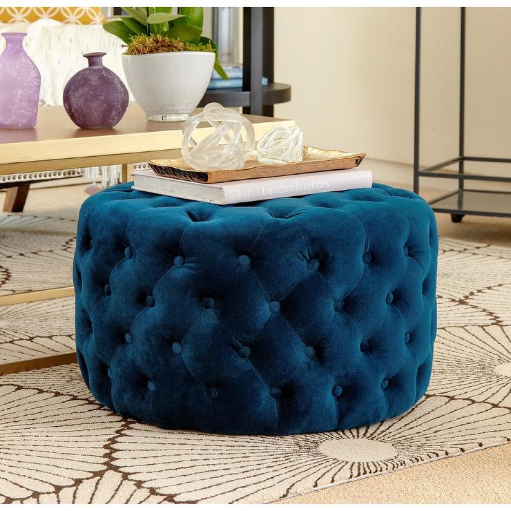 Superb Ella Blue Tufted Round Velvet Ottoman Caraccident5 Cool Chair Designs And Ideas Caraccident5Info