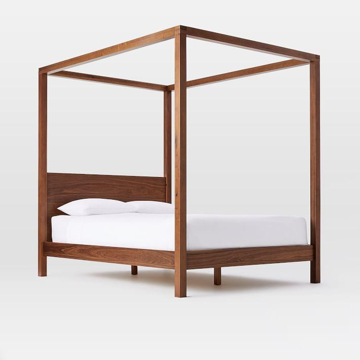 Sawyer Walnut Wood Canopy Bed