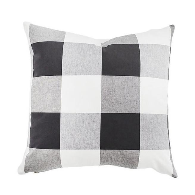 Oversized Black White Checkered Pillow