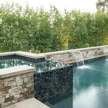 Ocean Blue Glass Pool Tiles Design Ideas