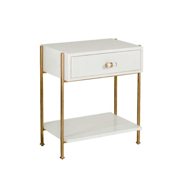 Jaclyn White Industrial Gold Side Table