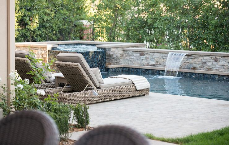 In Ground Pool With Corner Hot Tub Transitional Pool