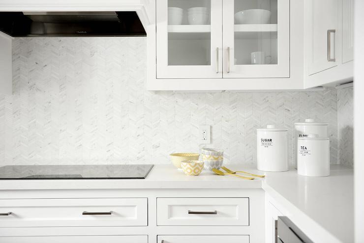 Herringbone Kitchen Backsplash Photos: White Mini Herringbone Tile Backsplash Design Ideas