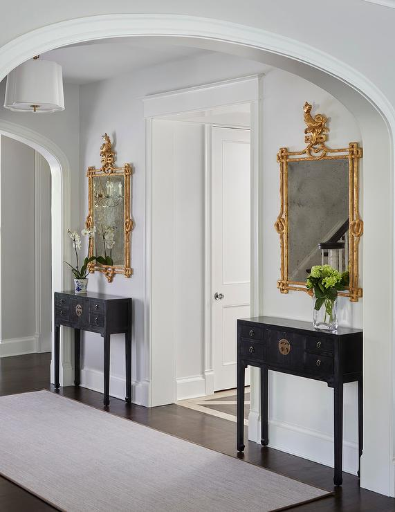 Arched Foyer Mirror : Gilt mirror with black chinoiserie console table french
