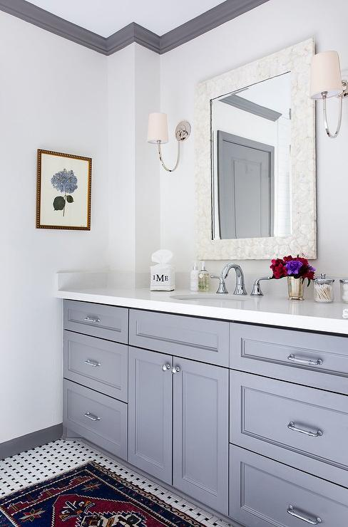White And Gray Bathroom With Gray Crown Moldings