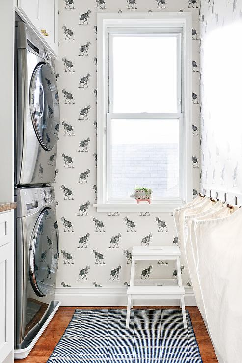 Laundry Room with Beware The Moon Ostrich Wallpaper - Laundry Room With Beware The Moon Ostrich Wallpaper - Transitional
