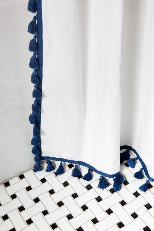 Navy Blue French Tassel Shower Curtain - Transitional - Bathroom