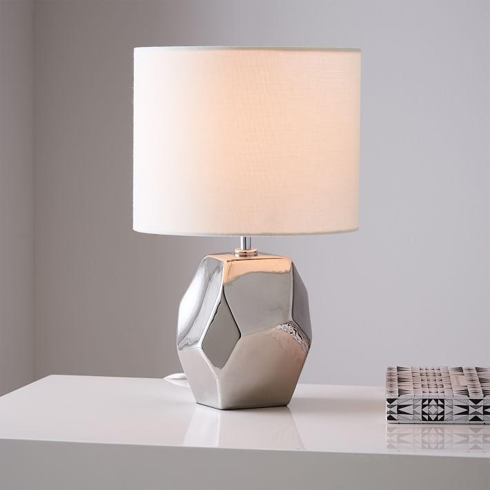 Ceramic Nature Silver Geo Table Lamp