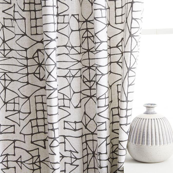 New Cotton Canvas Sketched Drawing Curtains TZ91