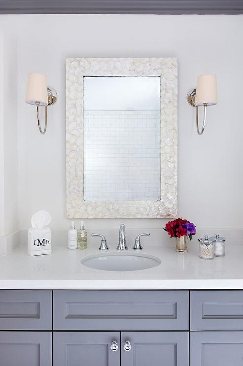 White Bamboo Trellis Mirror Transitional Bathroom
