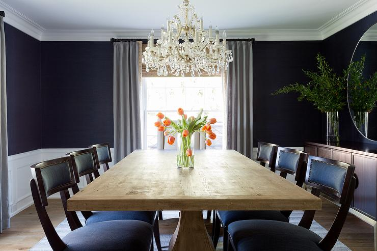 navy blue sisal dining room wallpaper design ideas