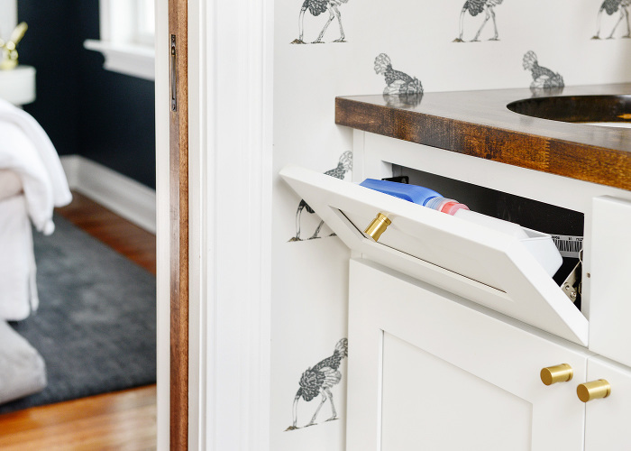 Flip Down Laundry Drawer - Transitional - Laundry Room